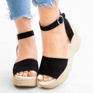 Black Platform Espadrille Sandal